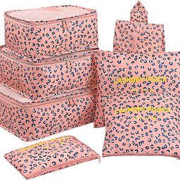 7 Set Packing Cubes with Shoe Bag - Travel Carry On Luggage Organizer | Amazon (US)