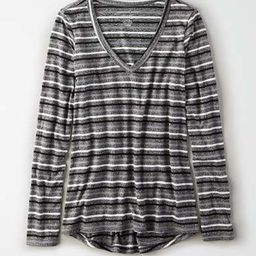 AE Soft & Sexy Plush Long Sleeve V-Neck T-Shirt | American Eagle Outfitters (US & CA)
