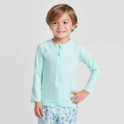 Toddler Boys' Zip-Up Raglan Long Sleeve Rash Guard - Cat & Jack™ Turquoise | Target