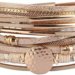 Leather Wrap Bracelets for Women Goldplated Metal Crescent Cuff Bracelet with Magnetic Buckle Cas... | Amazon (US)