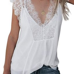 Ecrocoo Women's Summer V Neck Lace Trim Strappy Tank Tops Loose Sleeveless Blouse Shirts with Ves... | Amazon (US)