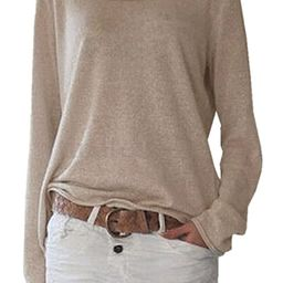 ZANZEA Women's Solid O Neck Long Sleeve T Shirt Casual Knit Tops Blouse Pullover   Amazon (US)