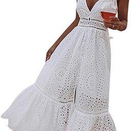Amazon.com: BerryGo Women's Embroidery Pearl Button Down Dress V Neck Spaghetti Strap Maxi Dress ... | Amazon (US)