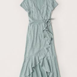 Short-Sleeve Ruffle Hem Midi Dress | Abercrombie & Fitch US & UK