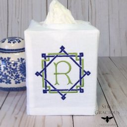 Monogram Tissue Box Cover, Personalized Bathroom Accent, Linen Wedding Gift, Hostess Gift   Etsy (US)