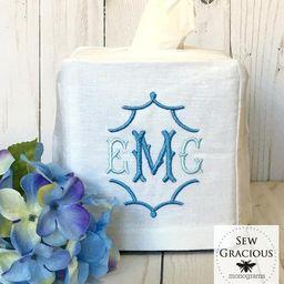 Monogrammed Tissue Box Cover, Powder Room, Guest Room, Bathroom Decor, Linen Wedding Gift, Hostes...   Etsy (US)