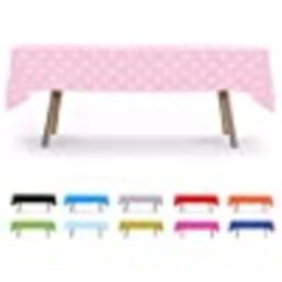 """6 PACK, 54"""" x 108"""" Pink Polka Dot Rectangular Plastic Table Cover, Party Table Cloths, Dining Tab... 