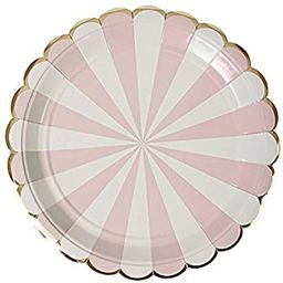 Meri Meri Dusty Pink Fan Stripe Large Plates - Pack of 8 - Gold Foil Detail with Scallop Edge | Amazon (US)
