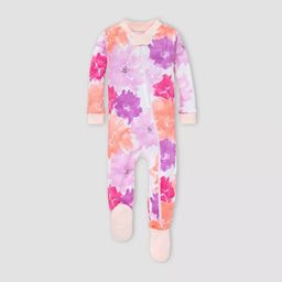 Burt's Bees Baby® Baby Girls' Floral Organic Cotton Footed Pajama - Purple | Target