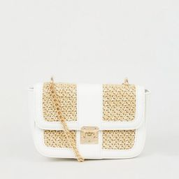 Stone Straw Effect Panel Shoulder Bag  Add to Saved Items Remove from Saved Ite... | New Look (UK)