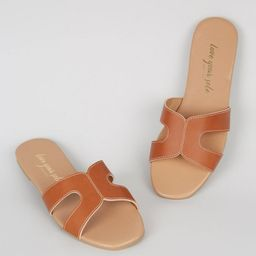 Tan Leather-Look Sliders  Add to Saved Items Remove from Saved Items | New Look (UK)