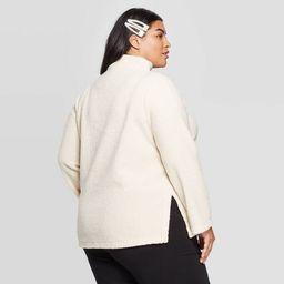 Women's Plus Size Mock Turtleneck Sherpa Pullover - Ava & Viv™ | Target