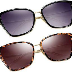 Oversized Cateye Sunglasses for Women, Fashion Metal Frame Cat Eye Womens Sunglasses | Amazon (US)