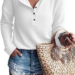Women's Waffle Knit Tunic Tops Loose Long Sleeve Button Up V Neck Henley Shirts   Amazon (US)