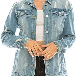 Women's Oversize Distressed Denim Jacket - Casual Ripped Destroyed Jean Jackets Trucker | Amazon (US)