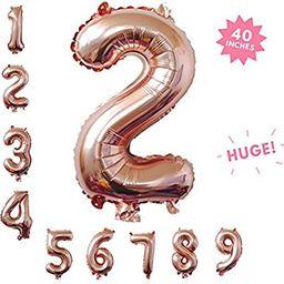 40 Inch Rose Gold Jumbo Digital 2 Number Balloons Huge Giant Balloons Foil Mylar Number Balloons ... | Amazon (US)
