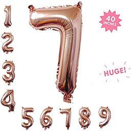 40 Inch Rose Gold Jumbo Digital 7 Number Balloons Huge Giant Balloons Foil Mylar Number Balloons ... | Amazon (US)