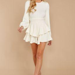 Right Impression White Sweater Romper | Red Dress