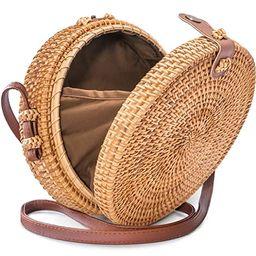 Round Rattan Bag with Snap Clasp - Handwoven Crossbody Straw Bag for Women by Avoseta | Amazon (US)