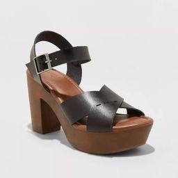 Women's Estella Faux Leather Wood Bottom Crossband Heel Pumps - Universal Thread™ | Target