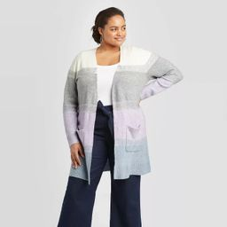 Women's Plus Size Striped Long Sleeve Open Layered Cardigan - A New Day™ | Target