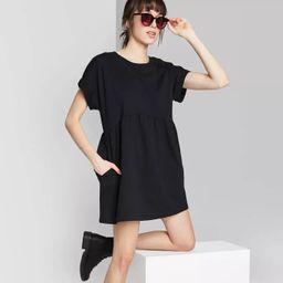 Women's Short Sleeve Crewneck Knit Babydoll T-Shirt Mini Dress - Wild Fable™   Target