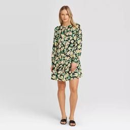 Women's Long Sleeve Round Neck Button Back Tiered Mini Dress - Who What Wear™ | Target