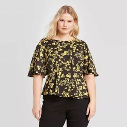 Women's Plus Size Floral Print Short Sleeve Blouse - Who What Wear™ | Target