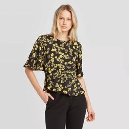 Women's Floral Print Short Sleeve Round Neck Blouse - Who What Wear™ | Target