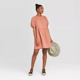 Women's Short Sleeve Crewneck Smocked Gauze Shift Dress - Universal Thread™   Target