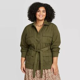 Women's Plus Size Utility Trucker Jacket - A New Day™ Olive | Target