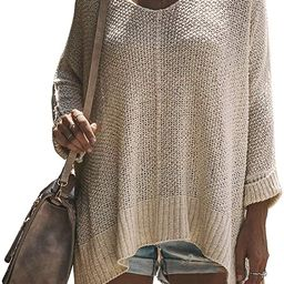 Exlura Women's Casual V Neck Loose Oversized Pullover Sweater High Low Knitted Jumper | Amazon (US)