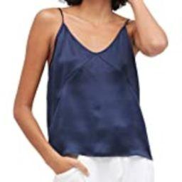 Mommesilk Women's Silk Camisole 100 Pure Mulberry Silk Cami Tank Tops Soft V-Neck Navy Blue   Amazon (US)