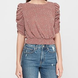 Printed Ruched Puff Sleeve Top   Express