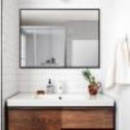 Neu-Type Rectangle Modern/Simple Bathroom Vanity Mirror Wall-mounted/Hanging Mirror Black/Gold JJ... | The Home Depot