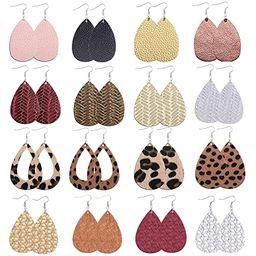 Sunssy 16-20 Pairs Leather Earring for Women Teardrop Leopard Print Leather Dangle Earring Lightw...   Amazon (US)