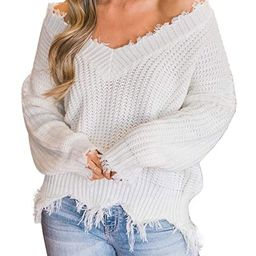 LEANI Women's Loose Knitted Sweater Long Sleeve V-Neck Ripped Pullover Sweaters Crop Top Knit Jum... | Amazon (US)