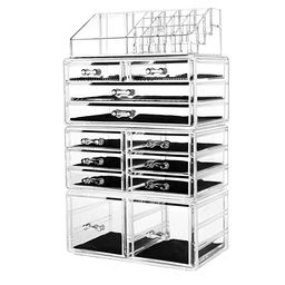 hblife Makeup Organizer Acrylic Cosmetic Storage Drawers and Jewelry Display Box with 12 Drawers,... | Amazon (US)