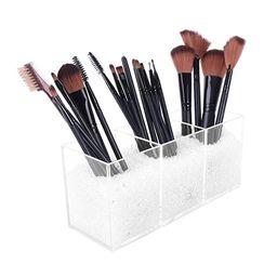 Vencer Makeup Brush Holder Organizer | 3 Slot Acrylic Cosmetics Brushes Storage Solution with Dia... | Amazon (US)