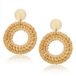 CEALXHENY Rattan Earrings for Women Handmade Straw Wicker Braid Drop Dangle Earrings Lightweight ...   Amazon (US)