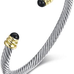 Twisted Cable Bracelet Designers Inspired Cuff Bracelets with Gemstones | Amazon (US)