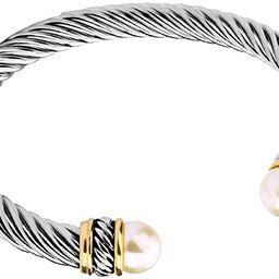 Fashion Jewelry Brand Cable Wire Bangle Elegant Beautiful Imitation Pearl Valentine | Amazon (US)