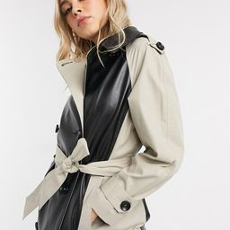 ASOS DESIGN leather look paneled trench coat in stone | ASOS US