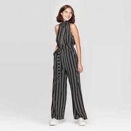 Women's Striped Sleeveless High Neck Belted Jumpsuit - Xhilaration™ Black | Target