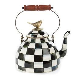 Courtly Check Enamel 3 Qt. Tea Kettle with Bird | MacKenzie-Childs