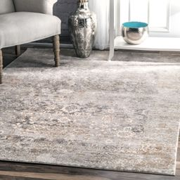 Beige Muted Floral Design Area Rug   Rugs USA