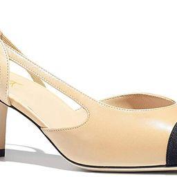 FOWT Chunky Heel Cap Toe Slingback Tow Toned Pumps for Women, Mid Block Heel Almond Pointy Toe Qu... | Amazon (US)