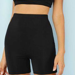 Solid Black Biker Shorts   SHEIN