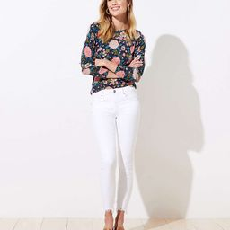 Chewed Hem Slim Pocket Skinny Crop Jeans in White   LOFT
