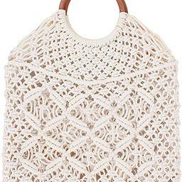 Ayliss Handmade Straw Bag Travel Beach Fishing Net Handbag Shopping Woven Shoulder Bag for Women | Amazon (US)